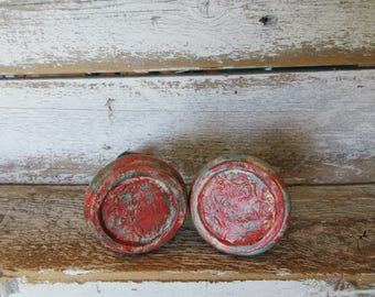 2 Red and Blue Wood Knobs with Brass Accents Aged Knobs Farmhouse, Tribal, Cottage Style Bohemian Pulls for your Drawers or Cabinets B-3