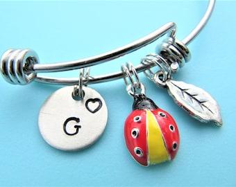 Ladybug Bracelet, Ladybug Charm Bracelet, Stackable Bracelets, Stamped Jewelry, Ladybug Bangle, Ladybug Charm, Ladybug Gift, Ladybug Jewelry