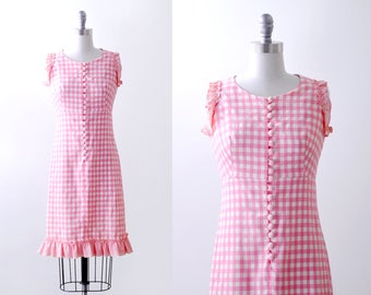 60's pink & white dress. gingham. 1960 plaid dress. shift. small. ruffled. Checkered cotton.