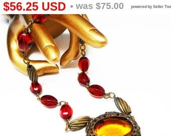 Art Deco Choker Necklace - Oval Filigree Pendant - Twisted Beads & Amber Glass Beads and Topaz faceted Cab - Vintage Jewelry