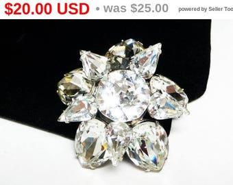 Vintage Rhinestone Star Brooch - Double Layered Spinning Star - High Fashion Mid Century Jewelry