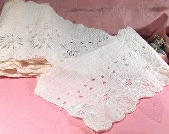 Antique Lace Cotton Trim Embossed Flowers Edwardian Trim