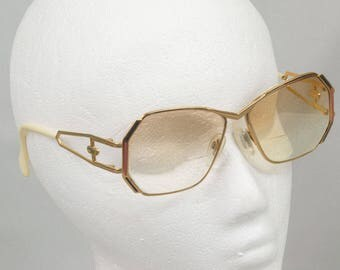 Vintage Cazal Eye Glasses 1980's Large glass Made in Germany Gold and white Prescription / Bifocals
