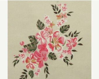 ON SALE Cotton Fabric By The Yard - Pink and Green Floral Print on Beige - 1 yard - ctnp215