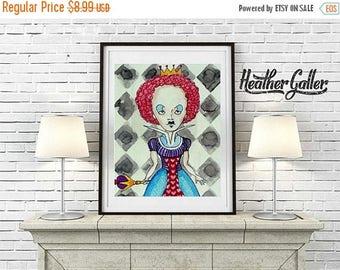 50% Today ONLY- DIGITAL Print File - Alice In Wonderland Queen Print