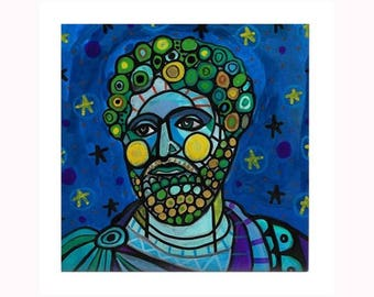 Marcus Aurelius Book Lover Art Tile by artist Heather Galler Meditations Roman emperor stoicism Greek Philosophy