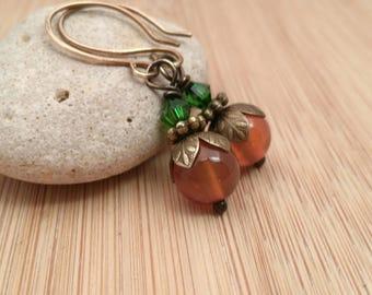 Pumpkin Spice Earrings. Orange Carnelian Gemstone Earrings. Orange and Green Jewelry. Fall Earrings. Antique Brass. Fall Wedding Jewelry