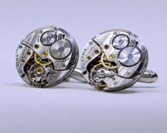 Steampunk Cufflinks - with the round vintage watch movements. Vintage upcycled mens Cuff Links, Gift under 40 Dollars 71