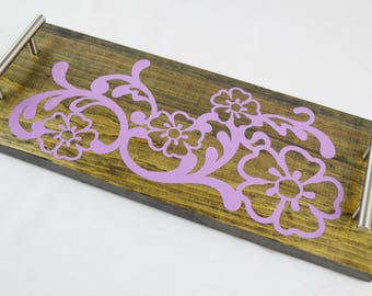 Purple Flower Long Wooden Serving Tray, Coffee Tray, Tea Tray, Espresso Tray