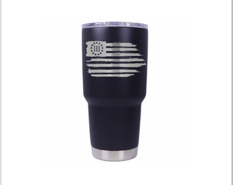 Laser Engraved with POWDER MATTE BLACK Anodized -  30 oz cup any logo you want