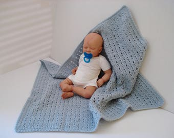 Fancy Fan Stitch Rows of Shells Fans Crocheted Beautiful Light Blue Soft and Warm Afghan Infant Blanket for Baby Boy Present Gift