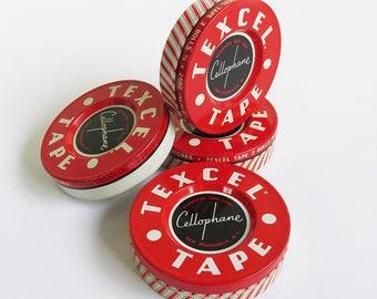 1950s Texcel Tape Tin, Cellophane Tape Tin, Vintage Office Supply Tin, Red & White Retro Graphics