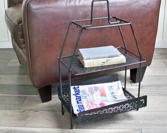 Mid Century Modern Metal Wire, Two-Tiered Metal Magazine Rack, Side Table, Plant Stand