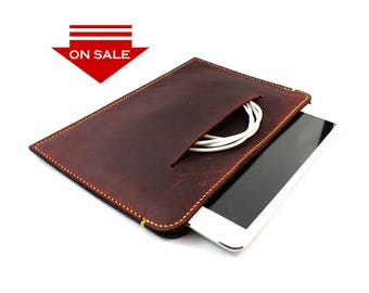 ON SALE : Hand Stitched iPad/ iPad Air Leather Sleeve Case in Rich Burgundy