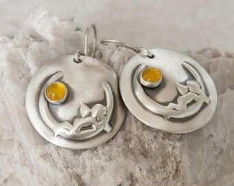 Cherub Moon Sterling Silver Earrings Handmade