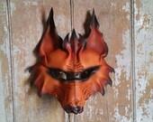 Tribal leather wolf mask, werewolf shaman, primitive, red fox