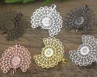 10 Brass Hair Clip W/ 38mm Filigree Peacock Tail Base Setting Antique Bronze/ Silver/ Gold/ Rose Gold/ White Gold/ Gun-Metal Plated- Z7306