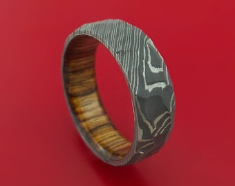 Damascus Steel Rock Hammer Ring with Walnut Wood Sleeve Custom Made