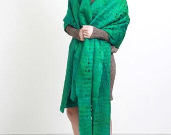 Cobweb green asmeralda felt shawl, green waves, long shawl, wool materials, cosy, elegant, Regina Doseth handmade in Lithuania EU