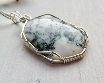 Silver Wire Wrap Dendritic Agate Pendant - Mens Silver Wire Wrap Necklace - Simple Stone Necklace