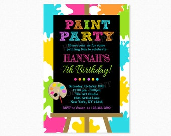 Paint Birthday Party Invitation, Art Birthday Party Invitation, Pink, Green, Yellow, Personalized, Printable or Printed