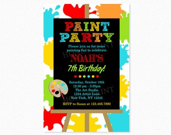 Paint Birthday Party Invitation, Art Birthday Party Invitation, Red, Green, Yellow, Personalized, Printable or Printed