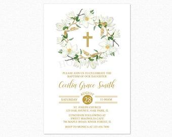 Baptism Invitation, Christening Religious Invitation, Magnolia Floral Wreath, Green, Ivory, Gold, Personalized, Printable or Printed
