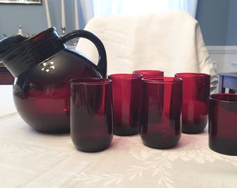 Anchor Hocking Ruby Red Ball Pitcher W/  5 juice glasses