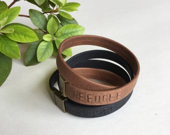REFUGEE. Leather Bracelet. Brown leather bracelet. Black Soft leather. Double Wrap Bracelet. High quality leather. Sela Designs. Charity.