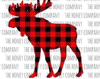 Buffalo Plaid Moose SVG DXF PNG Fall Christmas Cutting Machine Cut Files Silhouette Cricut