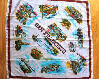 Vintage San Francisco California Souvenir Scarf!