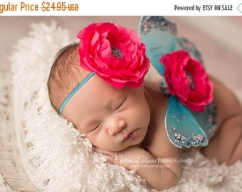 ON SALE Newborn Wings, Angel Wings, Fairy Wings, Newborn Photo Prop, Photography Prop, Pink and Turquoise Wings