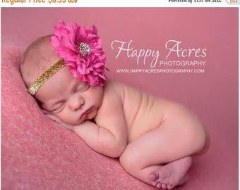 ON SALE PINK peony newborn headband, newborn photography prop, toddler headband, girl headband
