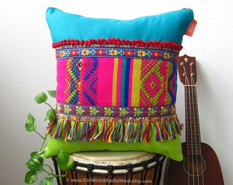 Boho Throw Pillow Bohemian FRINGE Mexican - Colorful Rainbow Multicolored Ethnic Cushion Cover Home Decor