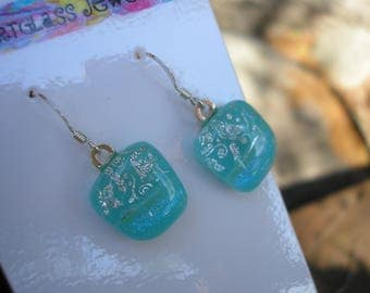Earrings Dichroic Glass Aqua with Tiny Silver Dichro Butterfly .925 Sterling Earwires Fused Glass Kiln Fired Artisan Jewelry Aqua Pale Blue