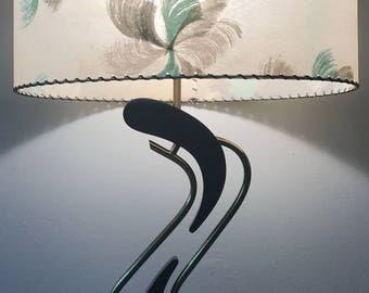 Rare Vintage 1950s Majestic Boomerang Lamp Fiberglass Shade Mid Century Modern Retro Fifties Atomic Era