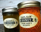 Custom Vintage Oval Honey labels for quilted mason jars, customized and personalized horizontal honey labels for backyard beekeeper gift