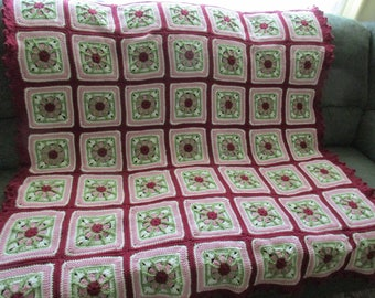 Handmade Crochet Rose Pinwheel Afghan w/ Dark Antique Rose Edging 54x 61
