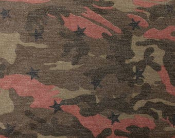Coral Olive and Brown Camouflage French Terry Knit Sweatshirt Fabric, 1 Yard