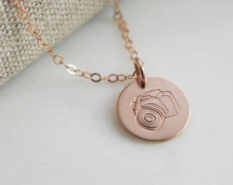 Camera Necklace - Hand Stamped Jewelry by Betsy Farmer Designs Rose Gold Fill