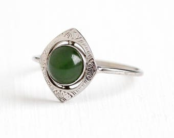 Vintage 14k White Gold Nephrite Jade Cabochon Ring - Size 8 1/2 Art Deco 1920s Green Gem Flower Design Stick Pin Conversion Fine Jewelry