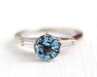 Aquamarine Engagement Ring - Vintage Platinum .80 CT Blue Gemstone & Baguette Diamonds - Size 3 3/4 1950s Mid Century Fine Appraisal Jewelry