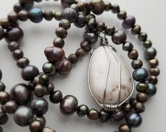 Gray Freshwater Pearl Necklace/Ocean/Nautical/Wire Wrapped/Agate/White