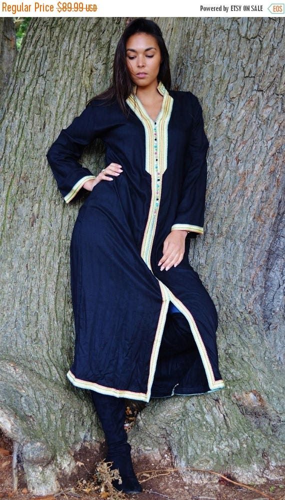 Autumn Dress 20% OFF/ Autumn Berber boho Style Black Caftan Kaftan - Perfect as loungewear,resortwear,spa robe, winter dress, Birthdays or M