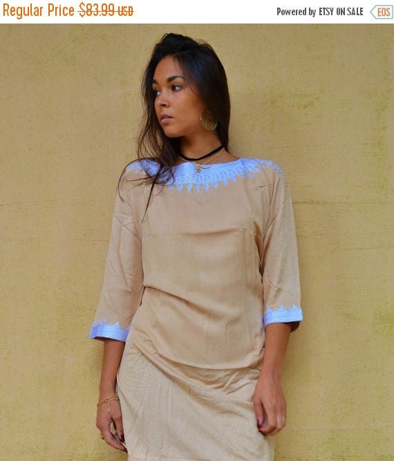 Autumn Dress 20% OFF/ Autumn Winter Beige Resort Tunic Dress Reina Style-christmas gifts, Birthdays gifts, resort wear, party, Moroccan Dres