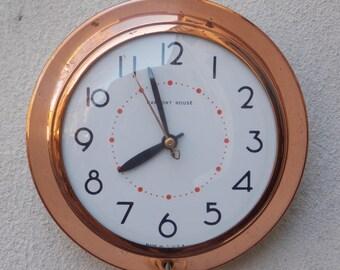 Ingraham Harmony House Round Copper Electric Wall Clock, Kitchen Clock