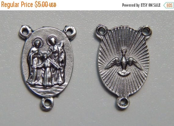 CLOSING SALE 5 Rosary Center Piece Findings, Holy Family, Antique Silver Color Oxidized Metal, Rosary Center, Religious, Hardware, Made in I