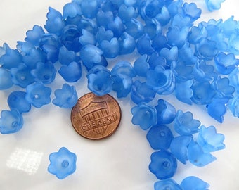 10mm Acrylic Flower BEAD CAPS in Frosted Blue, Bells, 50 Pieces, 10mm x 6mm, Spacers