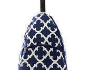 Navy and White Geometric design Tennis bag tote Backpack style Personalized for FREE
