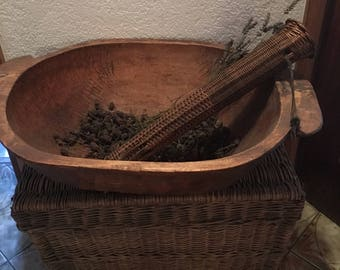 Vintage Antique French Country Rare Shaped Wicker Basket with Leather Strap Cottage Chic